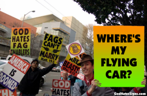Where's my flying car? protest sign